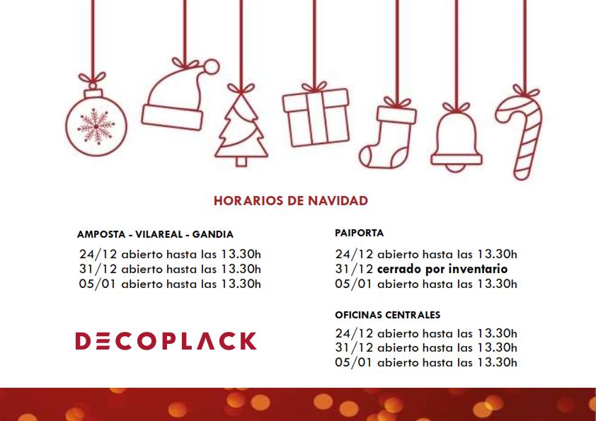 Horarios de nuestros centros para estas Navidades.